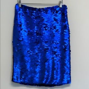 Zara Collection deep blue sequined midi skirt sz M